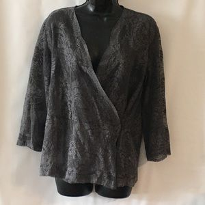 NEW YORK & CO GRAY LACE TOP SZ L (C-352)